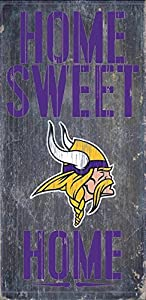 "Minnesota Vikings Wood Sign - Home Sweet Home 6""x12"""