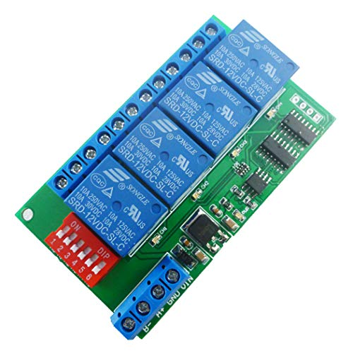 Eletechsup 4 Channel DC 12V RS485 Relay Module Modbus RTU & at Command Remote Control Switch for PLC PTZ Camera Security Monitoring (1, 4 Channels)
