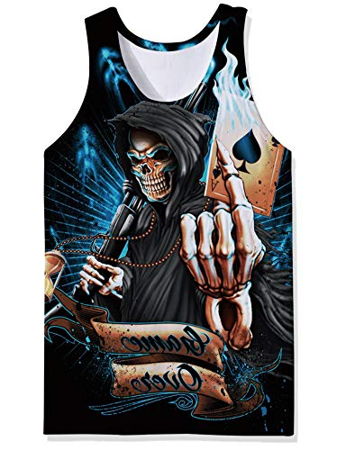 OPCOLV Mens 3D Print Graphic Cool Tank Tops Summer Casual Sleeveless Crewneck Tees T-Shirts Fashion Poker Man Rave Tanks Size 2XL