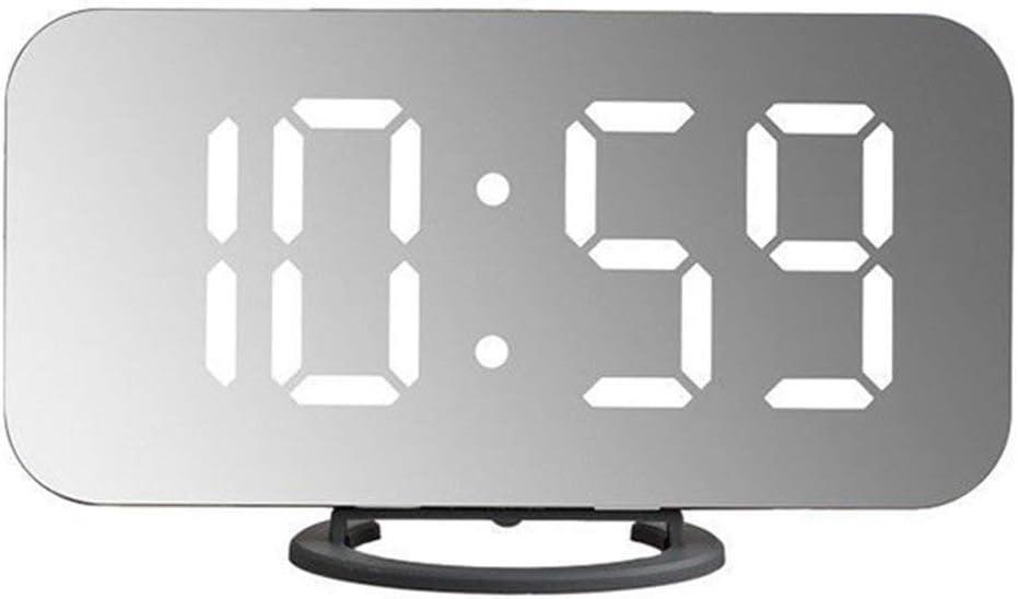 Reloj Despertador con Espejo LED Creativo Reloj de Mesa con repetición Digital Decoración del hogar Reloj electrónico portátil para Dormitorio (Gris y Negro) ESjasnyfall: Amazon.es: Hogar