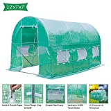 VINGLI 12x7x7 Ft Portable Large Greenhouse, Walk-in Door Tunnel Outdoor Reinforced PE Cover Plant Gazebo Canopy, Backyard Gardening Warm Hot House with Galvanised Sturdy Windproof Frame and Windows