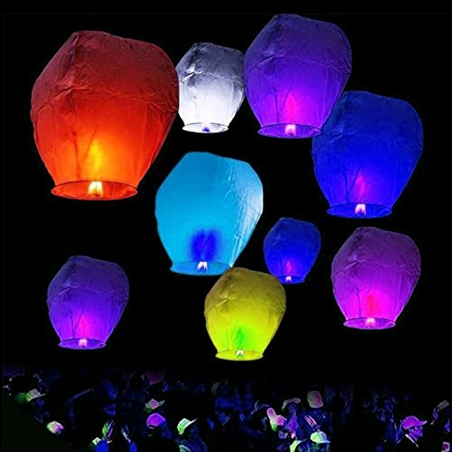 Sky lanterns 10pcs Technicolor Shape Mix UFO Balloon Lanterns Paper Sky Fire Lamp For Wish Wedding Party (Halloween Sky Lanterns Uk)