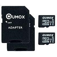 QUMOX, Scheda di memoria microSDHC da 32GB UHS-I Grade 1, Classe 10, con adattatore SD, 2pezzi