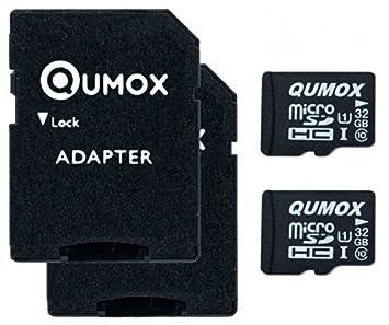 QUMOX 2 x 32GB Tarjeta Micro SD de Memoria de Clase 10 UHS-I, Velocidad de Escribir 15 MB/s, Velocidad de Lectura hasta 70 MB/s