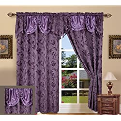 "Elegance LinenLuxury Design Jacquard Curtain Panel Set with Attached Valance 55"" X 84 inch (Set of 2), Purple"