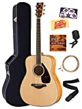 Yamaha FG840 Solid Top Folk Acoustic Guitar - Natural Bundle with Hard Case, Tuner, Strings, Strap, Picks, Austin Bazaar Instructional DVD, and Polishing Cloth