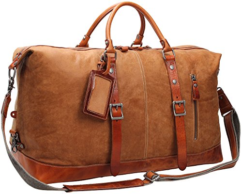 Iblue X-Large Durable Gym Tote Genuine Leather Overnight Travel Weekend Bag Garment 21in #C001 (XL, light brown) by iblue