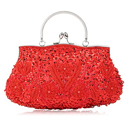 SSMY Beaded Sequin Design Flower Evening Purse Large Clutch Bag (red)