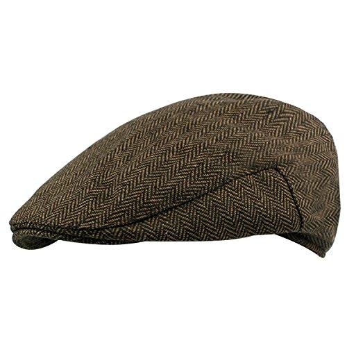 Ivy Driver - HowYouth Mens Vintage Herringbone Duckbill Tweed Newsboy Cap Gatsby Baker Boy Driver Ivy Irish Hat 58CM (Brown)