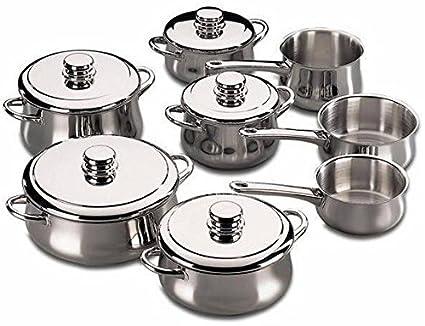 Fagor - Bateria De Cocina Silver, 13 Piezas, INOX, 5 Cacerolas, 2 Cazos, 1 Pote, 5 Tapas INOX