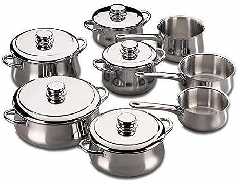 Fagor - Bateria De Cocina Silver, 13 Piezas, Inox, 5 Cacerolas, 2 Cazos, 1 Pote, 5 Tapas Inox: Amazon.es: Hogar