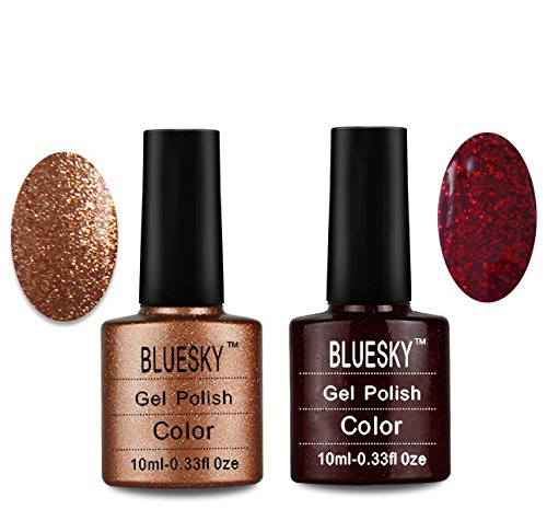 Bluesky UV/LED Gel Nail Polish, Chritmas Duo Tinsel Toast and Ruby Ritz Bl_2Pack_80545_80544
