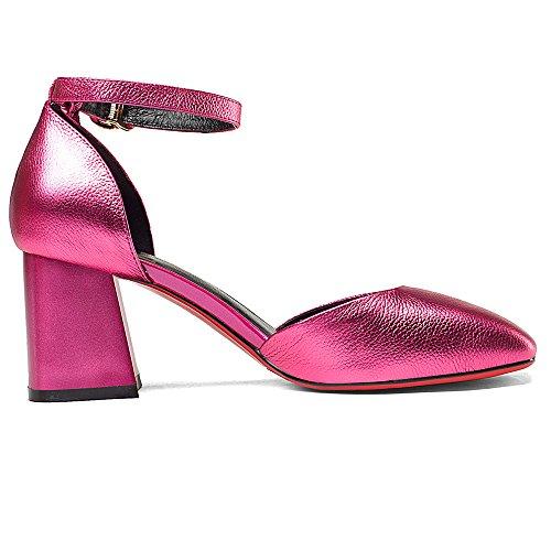 Nine Seven Cuero Puntera Cuadrada Sandalias de Tacón Grueso con Correa de Tobillo y Flecos para Mujer Rosa