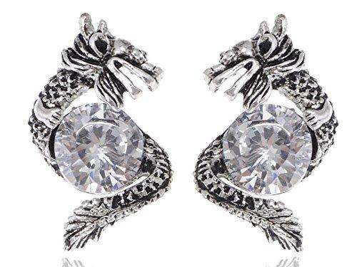 Alilang Silvery Tone Protective Dragon Crystal Rhinestone Stud Earrings