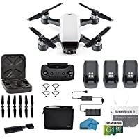 DJI Spark Intelligent Portable Mini Drone Quadcopter, Fly More Combo, with MUST HAVE ACCESSORIES, 3 Batteries, 64 GB SD Card, Propeller Guards, and More (Alpine White)