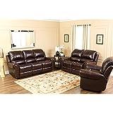 Abbyson Living Lexington Dark Burgundy Italian Leather Reclining Chair and Sofa Set