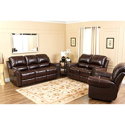 Abbyson Living Lexington CH-8811-BRG-3/2 2-Piece Living Room Set with Leather Reclining Sofa and Reclining Loveseat in Two Tone