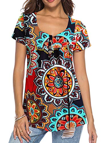 Women Vintage Short Sleeves Floral Print Tee Shirts Loose Fitting Pullover Tunic Top Orange X-Large