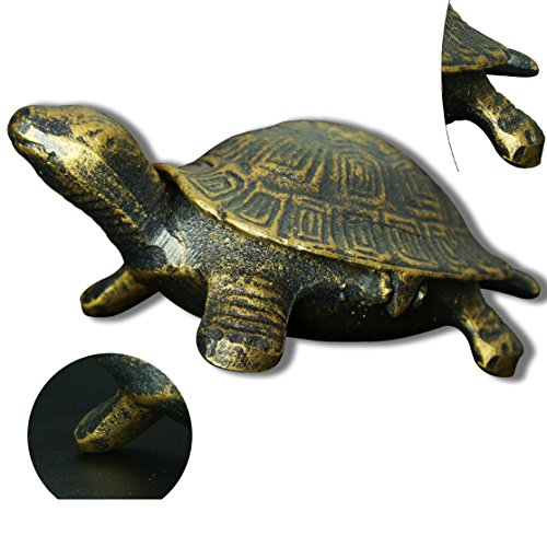 BUOP Bronzed Cast Iron Animal Statue, Collectible Decorative Tortoise Figurine with Antique Finish, Feng Shui Decor, Housewarming Gift, Beautiful Delicat Piece of Ornamentation
