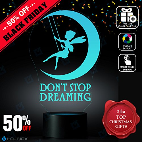 Don't Stop Dreaming, Dream lamp, Fairy and moon decoration, Kids Nightlight, Best Christmas Gift, Decoration lamp, 7 Color Mode, Awesome gifts (Diy Stop Light Costume)