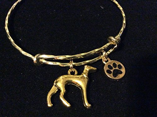 (3D Greyhound Dog Charm on a Gold Twisted Expandable Bracelet Adjustable Wire Bangle )
