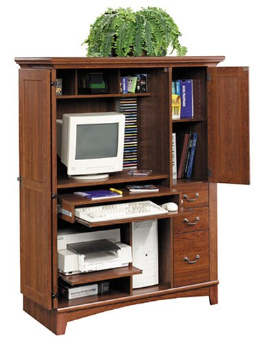 Sauder(R) Planked Cherry Computer Armoire