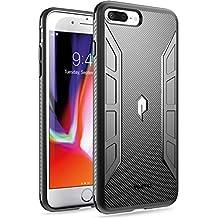 iPhone 8 Plus Case,iPhone 7 Plus Case, Poetic Karbon Shield Series-[Tactile Corner Impact Protection] [Flexible] [Carbon Fiber Texture] Stylish Thin Slim Fit Protective TPU Case for iPhone 7 Plus (2016) / iPhone 8 Plus (2017) Black