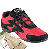 Bundle- 4 items - Very Fine Mens Womens Unisex Practice Dance Sneaker Split Sole VFSN012 Pouch Bag Sachet, Low Profile:Red 8 M US