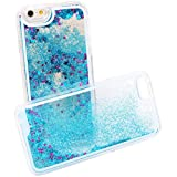 Glitter iPhone 6 Case, BEBONCOOL(TM) Quicksand Glitters Stars Liquid Transparent Hard Back Case Cover for iPhone 6 (4.7 Inch) [LIFETIME WARRANTY](Blue)