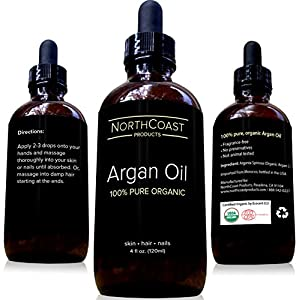 Virgin Argan Oil - 100% Pure Argan Oil For Hair, Skin, Face, & Nails. Cold-pressed, USDA/Eco-certified Organic (4oz / 120ml). Highest Quality Moroccan Oil - Satisfaction Guaranteed!