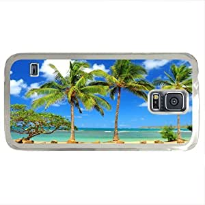 Fashion iPhone Case Samsung galaxy S5 PC (Laser Technology) Case with Tropical Beach Resort Palm Tree Sand design by runtopwell