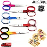 New Manicure Mini Scissors With Unique Colors – 5 in one Cuticle/ Nail Scissors – Staight / Curved blade Sharp Scissors -Beauty Tools, Finest Fingernails Cutting Scissors