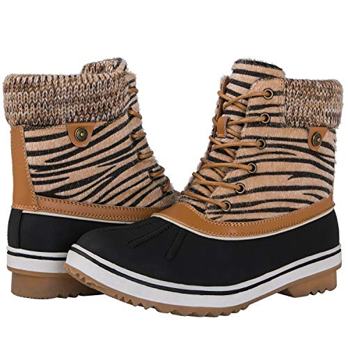 Zebra Camel (Globalwin Women's 1831 Camel Zebra Stripe Winter Snow Boots 7.5M)
