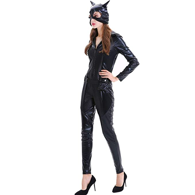 HGUIAZ Mujer Sexy Catsuit Catwoman Mono Disfraz Patentar Cuero ...