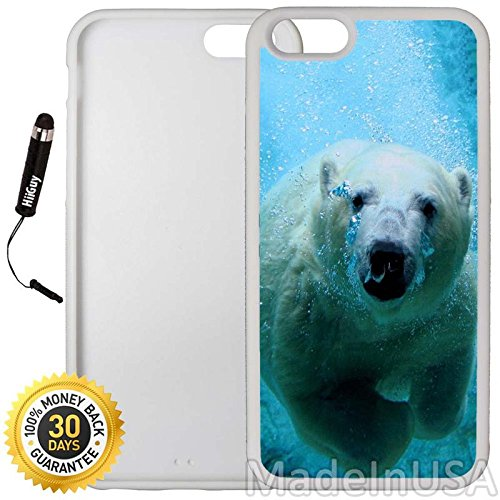 - Custom iPhone 6 Plus/6S Plus Case (Cute Swimming Polar Bear) Edge-to-Edge Rubber White Cover with Shock and Scratch Protection | Lightweight, Ultra-Slim | Includes Stylus Pen by INNOSUB