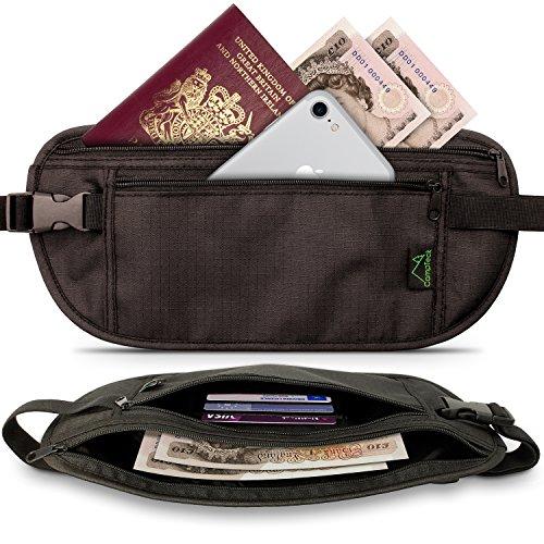 CampTeck RFID Hidden Money Belt Travel Pouch Wallet for Cash, Passport,...