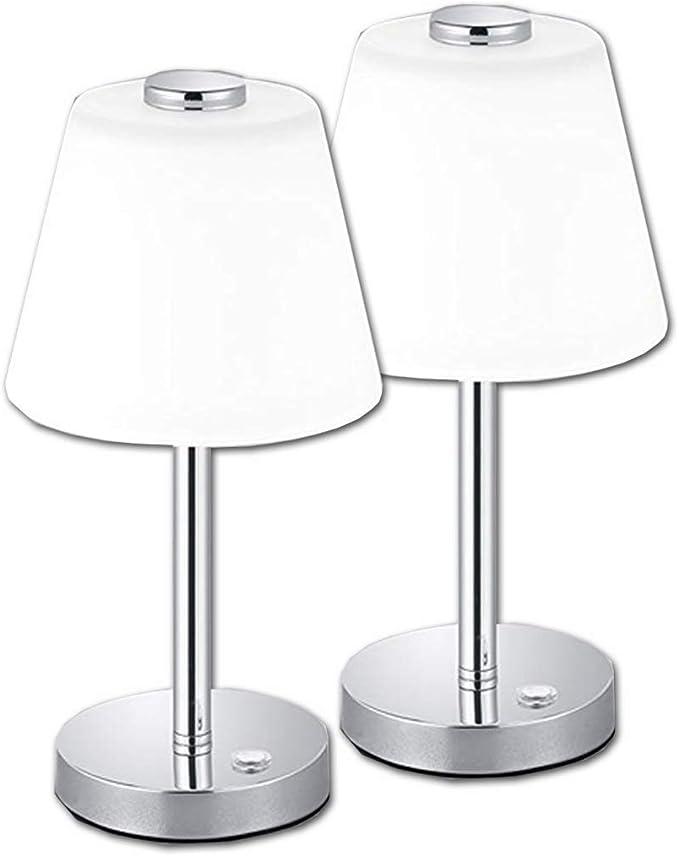 Juego de 2 – LED Lámpara de mesa TOUCH en níquel mate con un ...