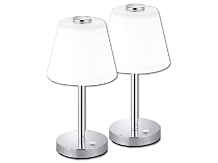 Stoffschirm weiß Set Flurlampen Tischleuchten Nachttischlampe Touch Funktion