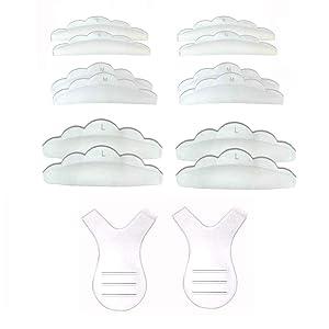 Laza 14pcs Eyelash Perming Curler Perm Pad (12pcs) 3 Size Y shape lash brush (2pcs), Silicone Eyelash Lift Utensil Reusable Mini Lash Comb Rods DIY Best Makeup Beauty Tool at Home