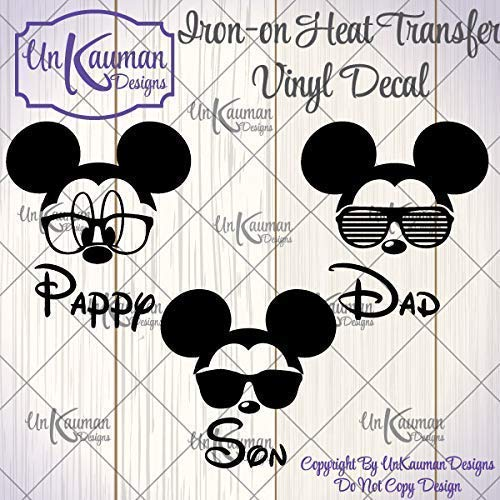 DIY Personalized Mickey Grampa, Dad, or Son Iron On Vinyl Decal for Clothing]()