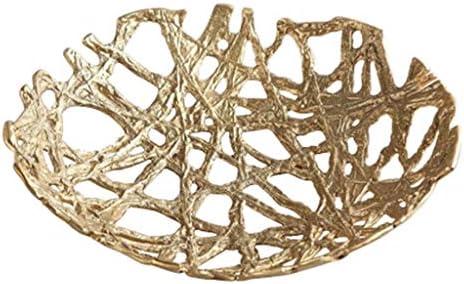 コンポート フルーツプレートライトラグジュアリーピュアブラスフルーツプレートクリエイティブモダンリビングルームフルーツプレートティーテーブルデスクトップ収納プレートトレイ家庭用 (Color : Brass, Size : 35*35*8cm)