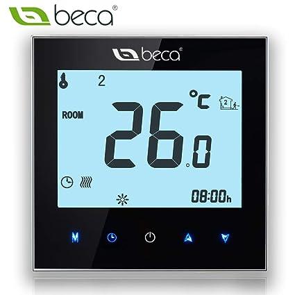 Control de termostato, Interruptor BECA Pantalla táctil LCD 16A Calefactor eléctrico Calefactor programable (16A