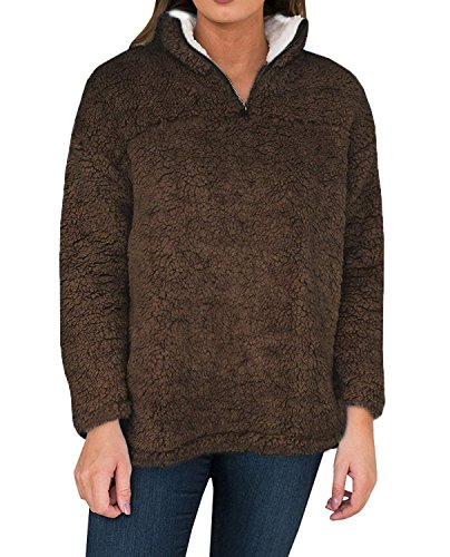 YOMISOY Womens Long Sleeve Sweatshirt Casual Fleece 1/4 Zip Sherpa Pullovers Tops ()