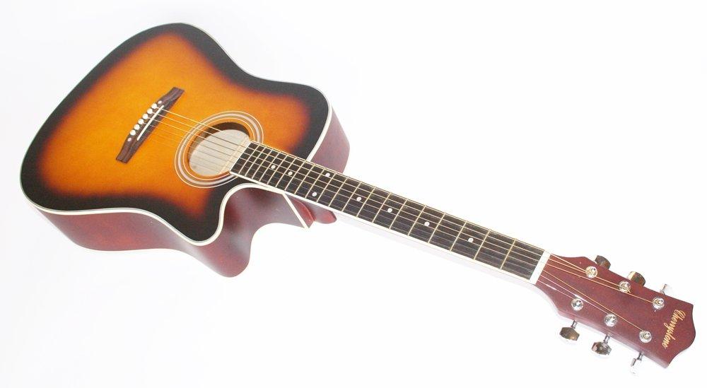 cherrystone guitare folk avec pan coupe avec sacoche et sangle sunburst