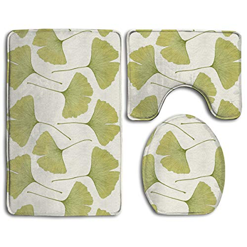 Bathronn Mat Green Ginko Leaves Pedestal Rug + Lid Toilet Cover + Bath Mat ()