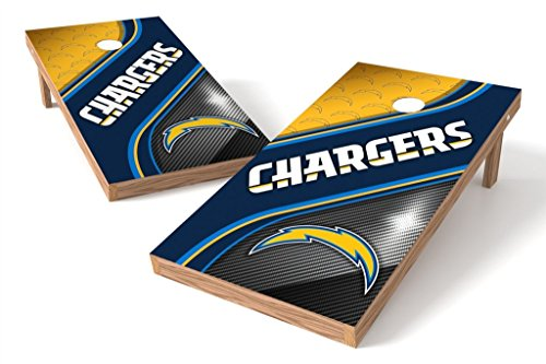 PROLINE NFL Los Angeles Chargers 2'x4' Cornhole Board Set with Bluetooth Speakers - Swirl Design ()