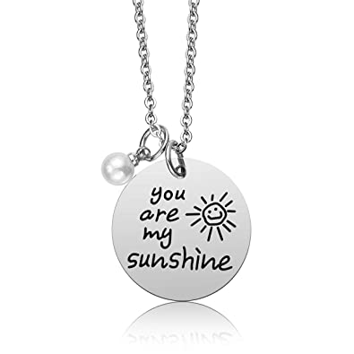 Amazon.com: iJuqi You are My Sunshine - Collar con colgante ...