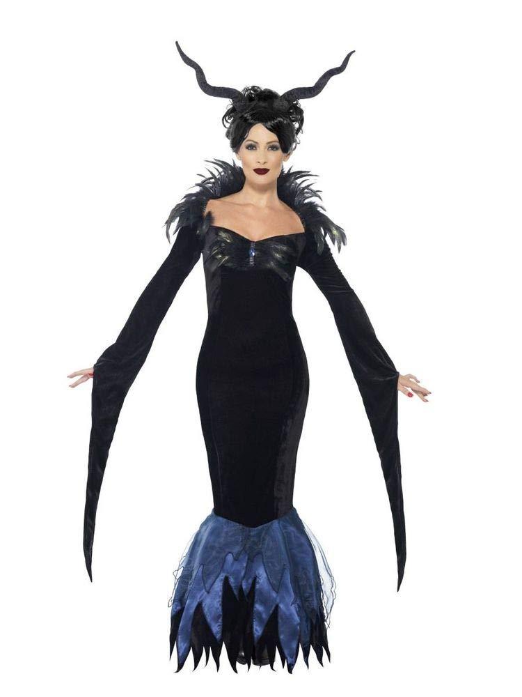 Damen Kostüm Lady Raven schwarzes Kleid mit Federn Vampirin Evil Queen Maleficent Rabe Halloween Gothic Märchen, Größe:M