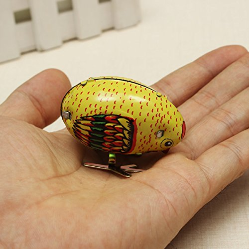 New Wind Up Chick Tin Toy Clockwork Spring Pecking Chick Vintage Style