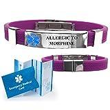 ''Allergic to Morphine'' Designer Medical Alert ID Bracelet. Choose Color!